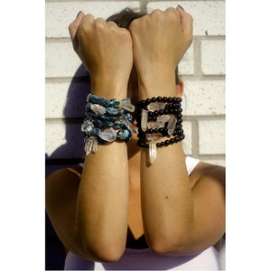Black Candy Beaded Stretch Bracelet With Agate Rock