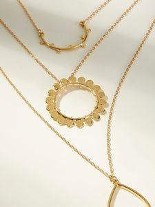 1pc Golden Multi Layered Water-drop Pendant Necklace