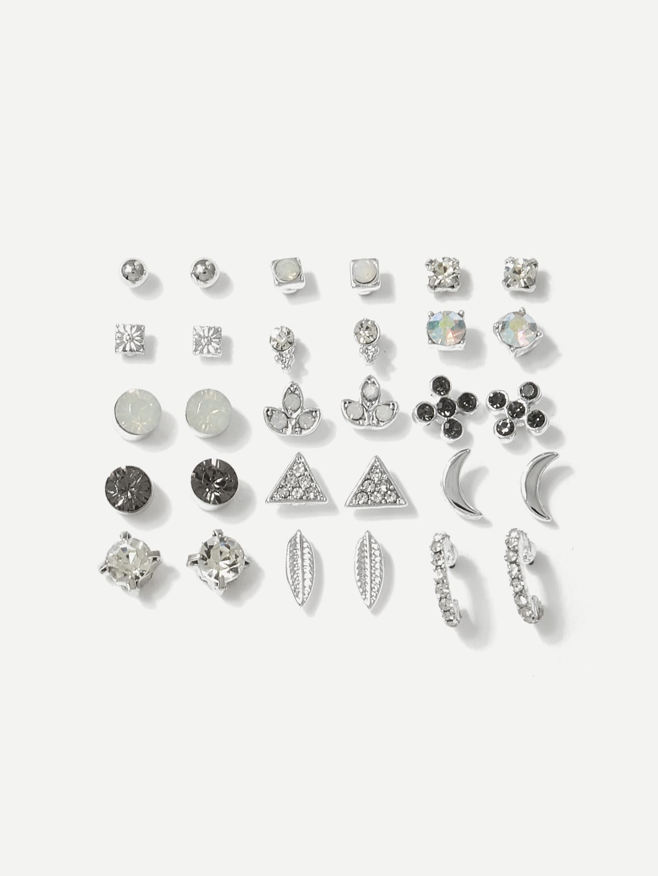 Grey Moon & Leaf Design Gemstone 15 Pairs Stud Earrings