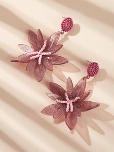 Pink And Green Bead Drop Flower Design 1 Pair Earrings