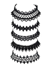 Load image into Gallery viewer, European Black And Brown Lace 5pcs Choker Necklace Set
