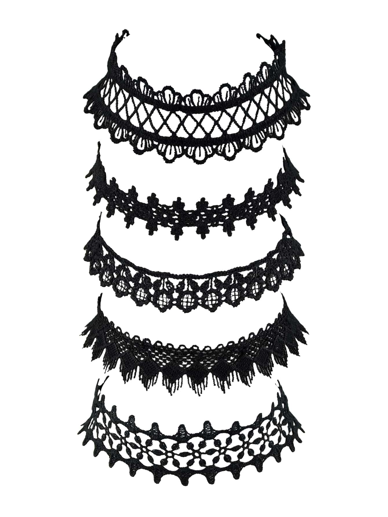 European Black And Brown Lace 5pcs Choker Necklace Set