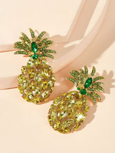 Load image into Gallery viewer, Green And Yellow Pineapple Shaped Gemstone Engraved 1 Pair Stud Earrings
