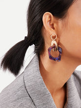 Load image into Gallery viewer, 1pair Multicolor Link Gold Hoop Drop Earrings