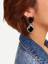 Load image into Gallery viewer, Black And Golden Oval & Square 1 Pair Dangle Earrings