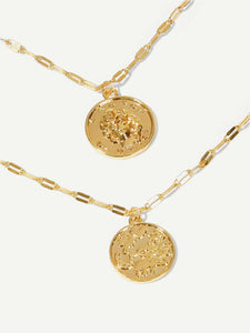 Golden Round Charm 2pcs Chain Bracelet Set