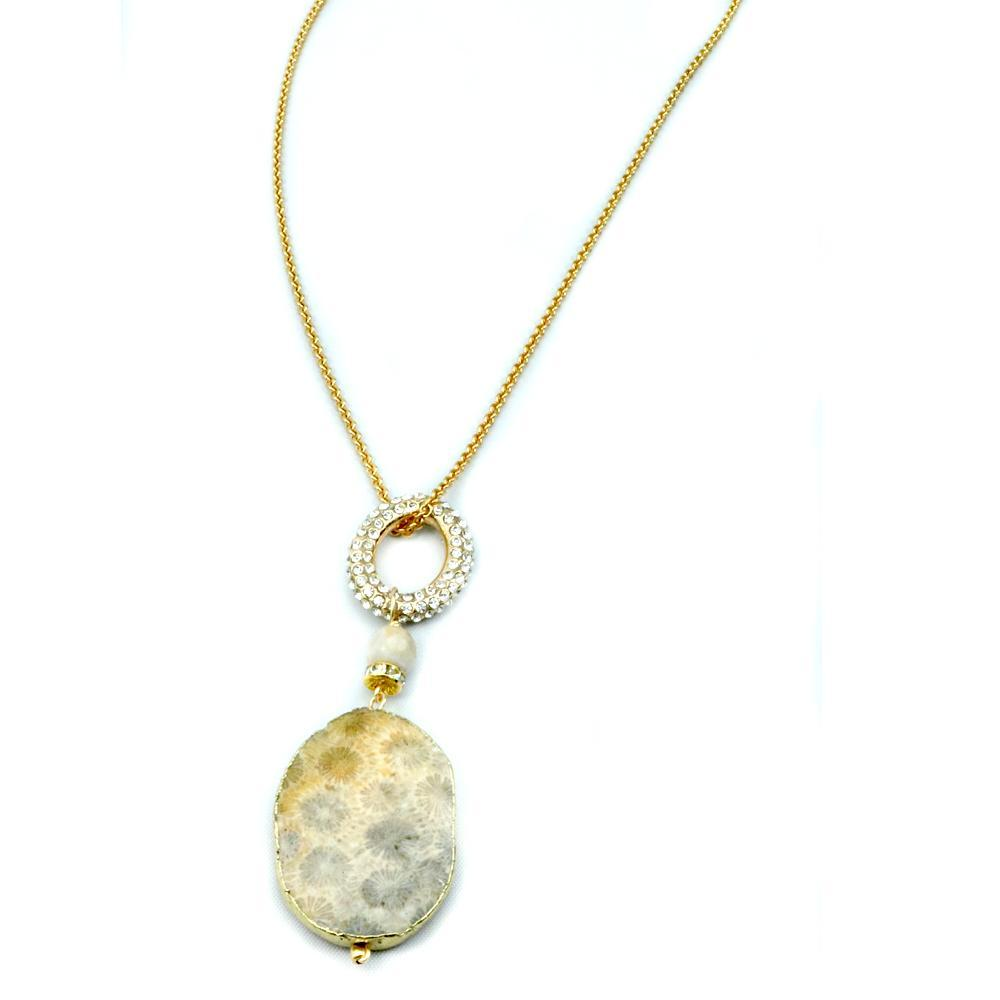 Gold Plated Fossil With Pave Crystal Oval Necklace With Chain