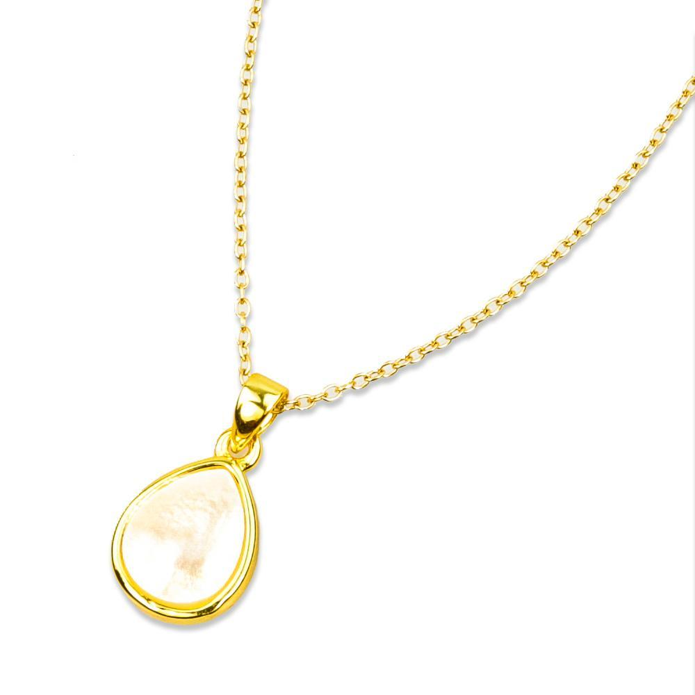 Adeline Mother of Pearl Gold Necklace With Sterling Silver Chain