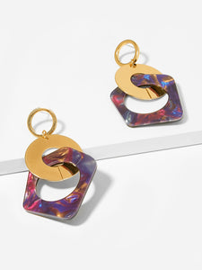 1pair Multicolor Link Gold Hoop Drop Earrings