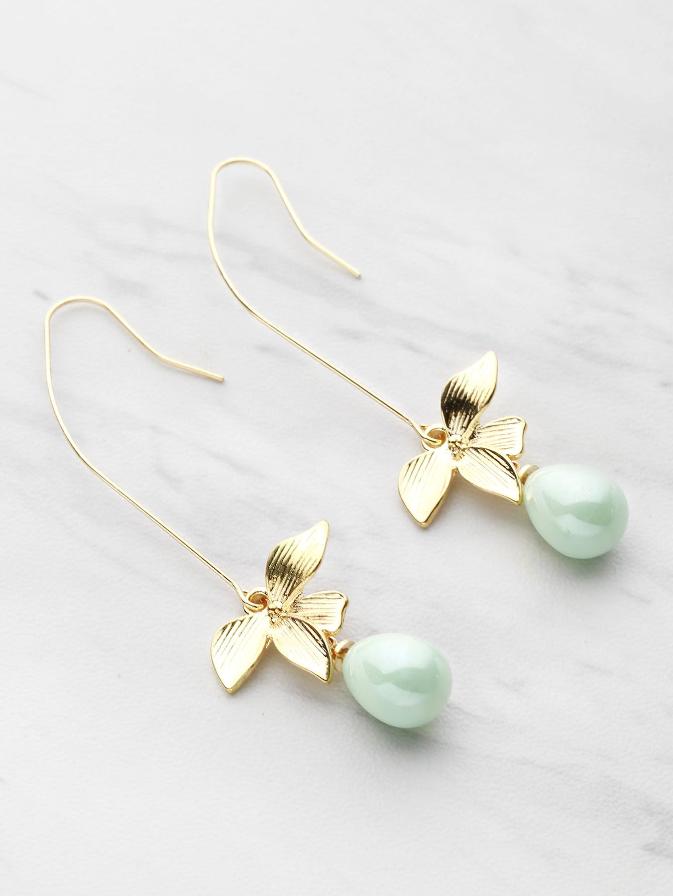 Light Green Faux Pearl With Golden Metal Leaf Drop Dangle Earrings
