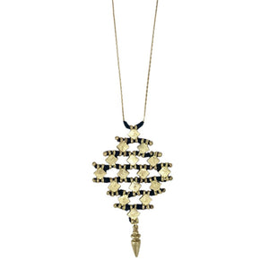 Black Cotton Thread With Golden Metal Nadu Tribal Necklace