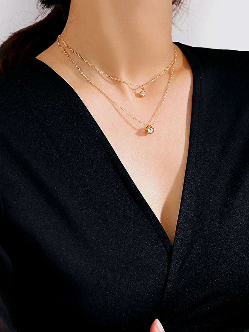 Gold, Grey Rhinestone Metal Pendant Layered Chain Necklace