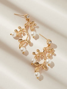 Golden Faux Pearl Decor 1pair Alloy Shaped Drop Dangle Earrings