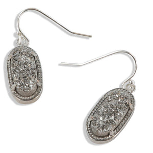 Alicia Silver Oval Druzy Earrings Over Sterling Silver Wires