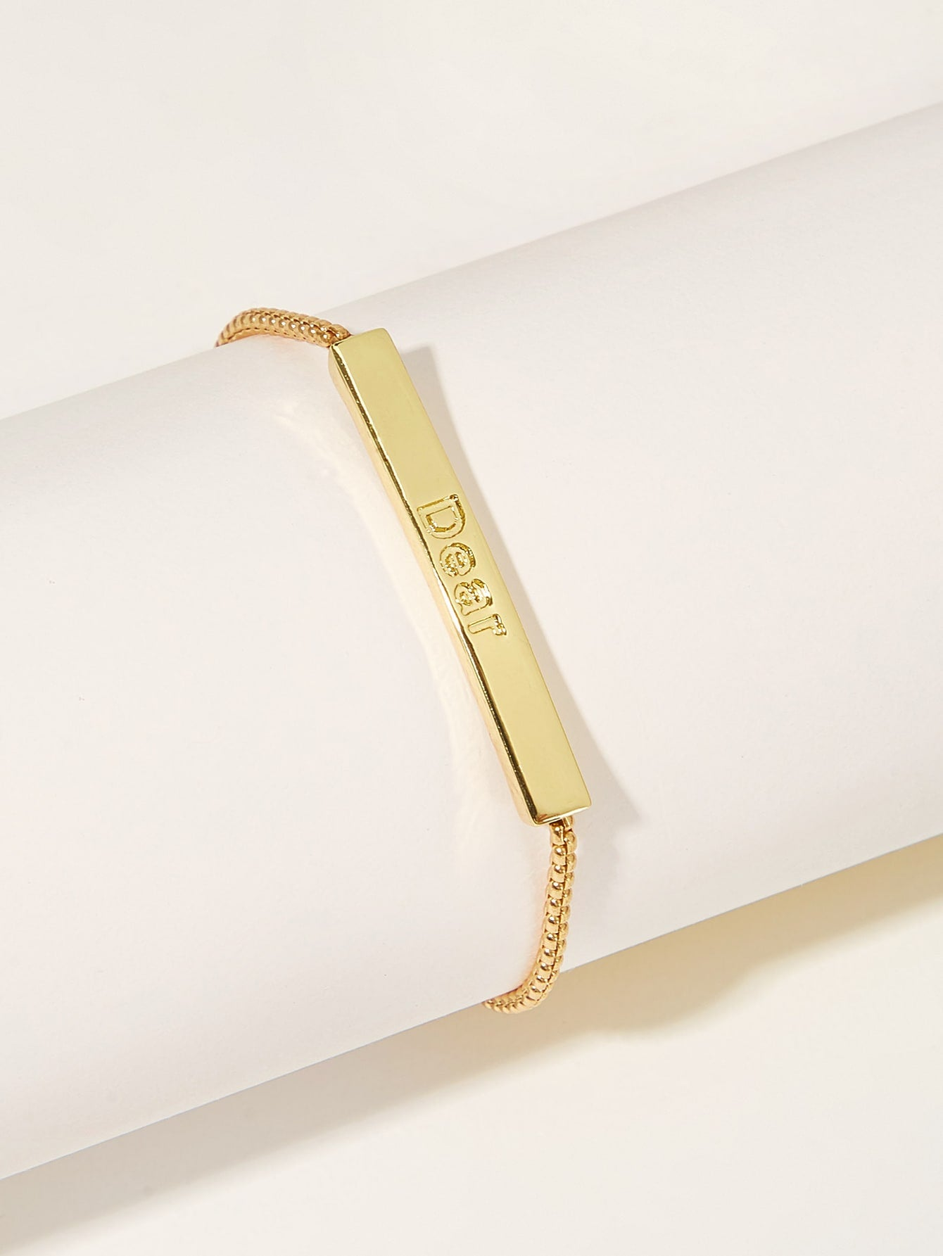 1pc Letter Engraved Bar Golden Adjustable Chain Bracelet