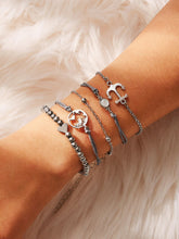 Load image into Gallery viewer, Silver And Grey Anchor & Heart Bracelet Set 5pcs