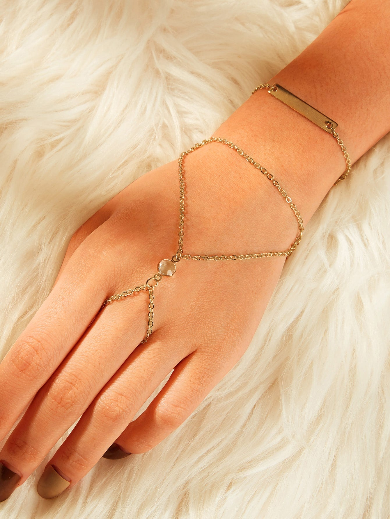 Golden Bar Detail Chain Bracelet With Finger Ring Combination 1pc