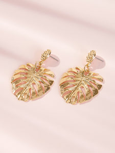Golden Palm Shaped 1 Pair Dangle Earrings