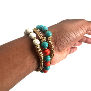 Multicolor Beaded Elastic Bracelet With Gold Chain