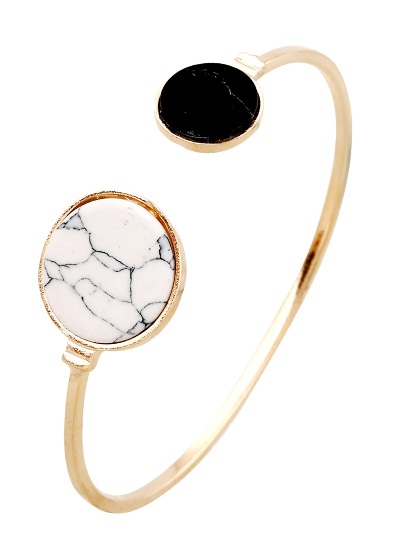 1pc Golden Two Tone Stone Cuff Bangle