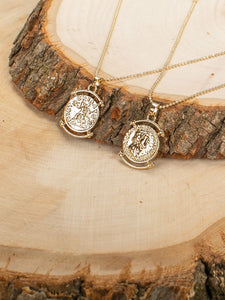 Set Of Two Coin Pendant Dainty Chain Necklace