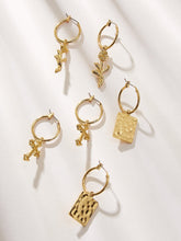 Load image into Gallery viewer, Golden Cross & Square Charm Hoop Drop Dangle 3 Pair Earrings