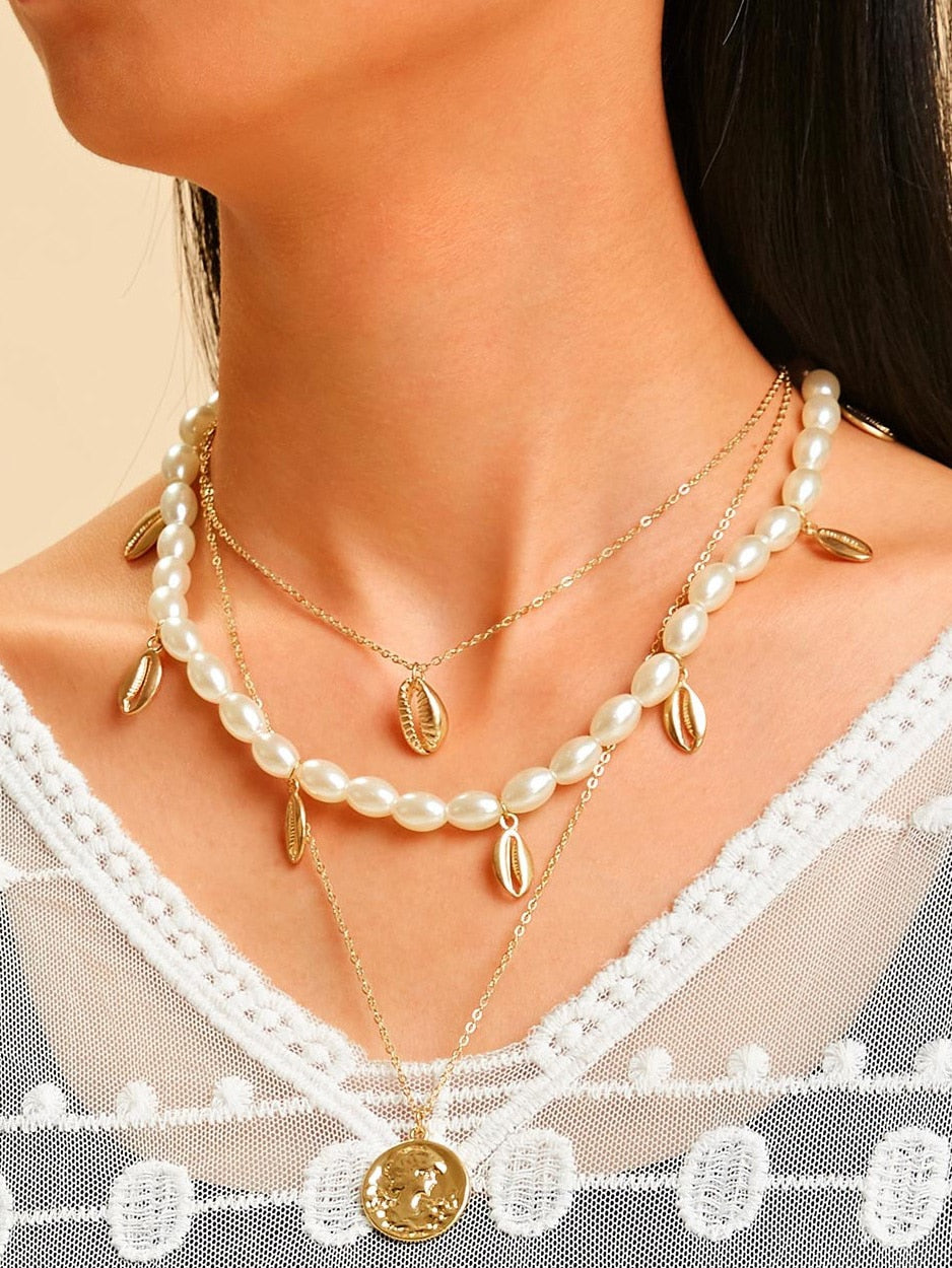 Golden 1pc Shell Charm Faux Pearl Design Layered Chain Pendant Necklace