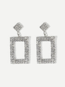 Grey Rhinestone Open Rectangle 1 Pair Dangle Earrings