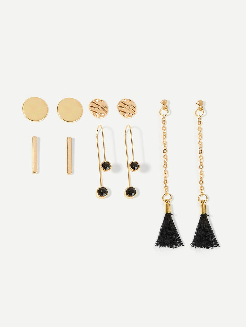 Golden Bar & Black Tassel Dangle And Stud Earrings Set 5pairs