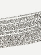 Load image into Gallery viewer, Grey Multi Layered Silver Metal Rhinestone Choker