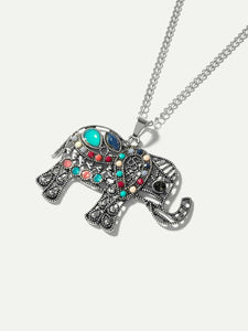 Grey Hollow Elephant Pendant Chain Necklace