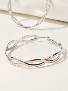 Grey Double Layered 1pair Silver Spiral Hoop Earrings