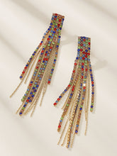 Load image into Gallery viewer, 1pair Multicolor Rhinestone Gold Tassel Drop Dangle Earrings