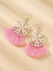 Pink Fan Tassel White Round Faux Pearl 1pair Drop Earrings