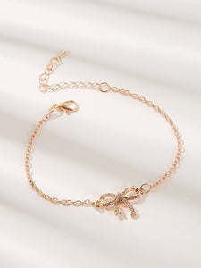 Golden 1pc Rhinestone Engraved Bow Link Chain Bracelet