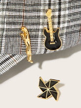 Load image into Gallery viewer, Black And Golden Guitar & Windmill Shaped 3pcs Brooch