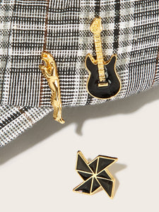 Black And Golden Guitar & Windmill Shaped 3pcs Brooch