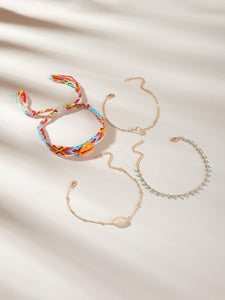Multicolored Band With Shell Decor &  Faux Pearl Golden Chain Bracelet 4pcs