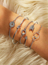 Load image into Gallery viewer, Grey Arrow & Circle Rhinestone 5pcs Bracelet Set