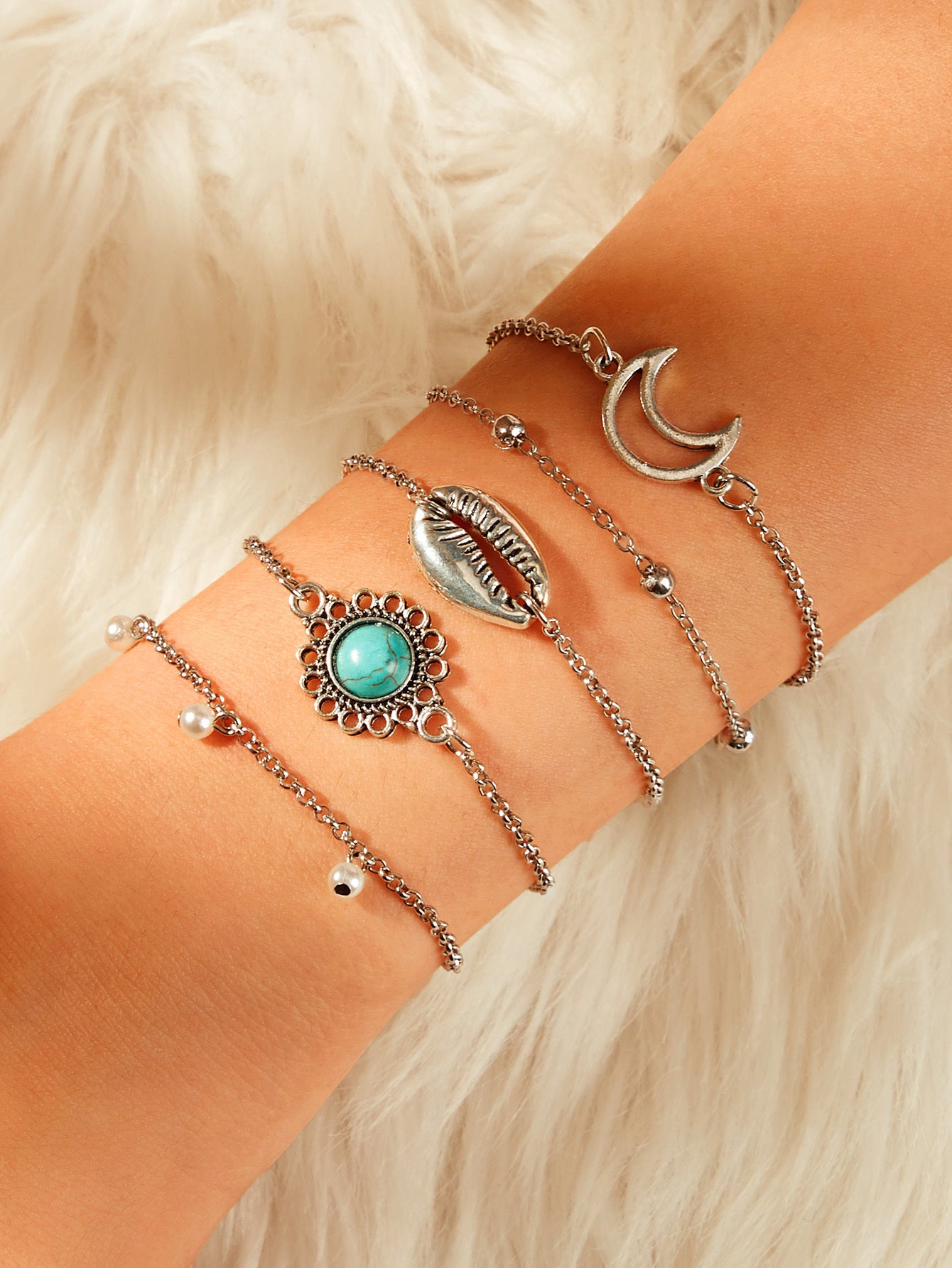 Multicolor 5pcs Moon & Turquoise Detail Silver Metal Link Chain Bracelet