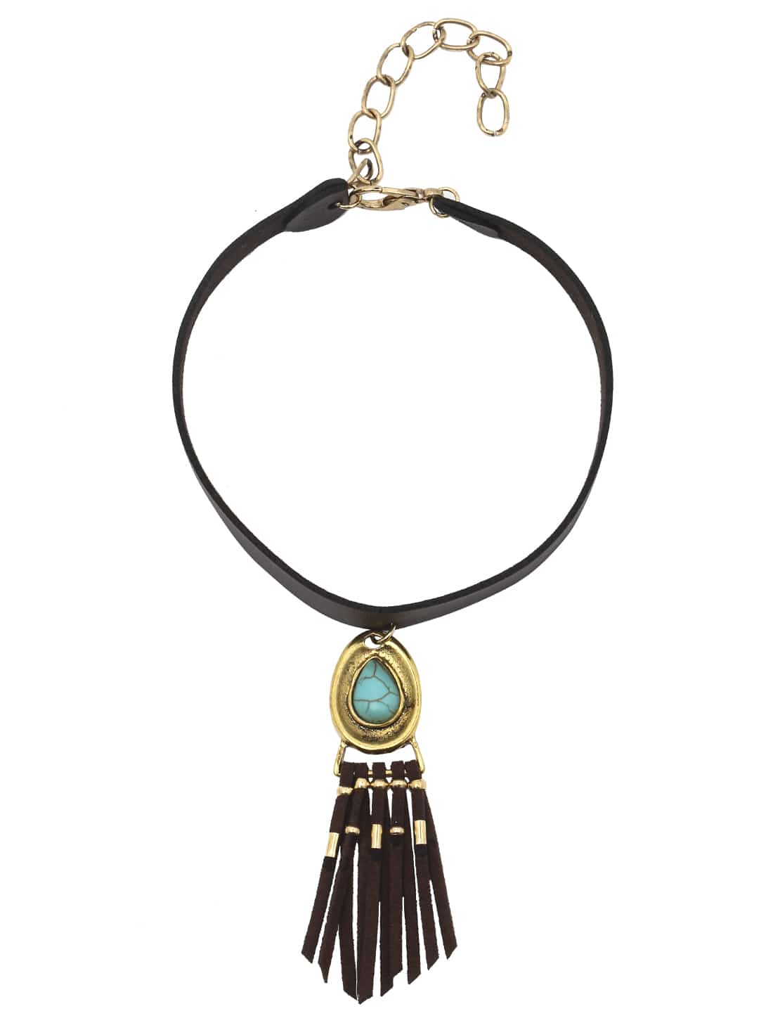 Antique Turquoise Overlay In Silver And Gold Metal With Tassel Choker Necklace