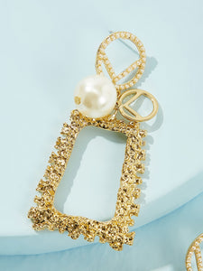 Golden Faux Pearl Decor 1pair Alloy Open Rectangle Hoop Earring