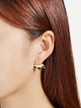 Load image into Gallery viewer, Golden And Black Geometric Stud Ear Jacket