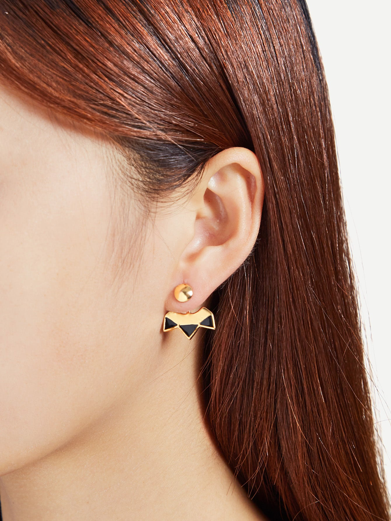 Golden And Black Geometric Stud Ear Jacket