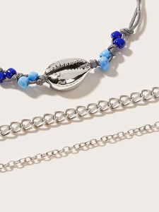 3pcs Blue And Grey Shell Decor Chain Bracelet