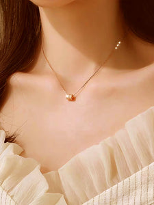 1pc Golden Ring Wide Pendant Chain Necklace