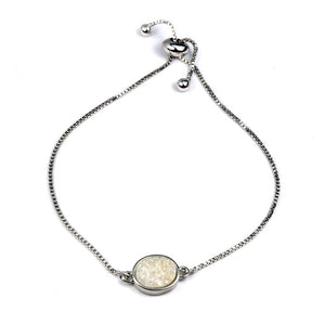 Brandy Multicolor Small Druzy Oval Bracelet With Silver Chain