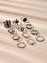 Load image into Gallery viewer, 12pcs Black Textured Rhinestone Detail Silver Ring