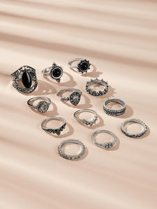 12pcs Black Textured Rhinestone Detail Silver Ring