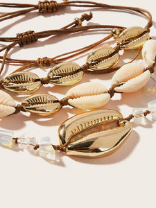 Cowrie Multicolored Shell 3pcs Adjustable Bracelet